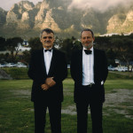 Hans Fricke and Mike in their penguin suits during the fund-raising campaign for the 1991 'Jago' expedition to South Africa.
