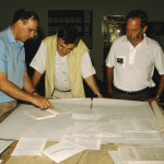John Rogers of the Marine Geosciences Unit at the University of Cape Town planning the 1996 'Jago' expedition with Hans Fricke and Mike. Photo: Karen Hissmann.