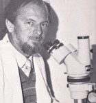 Mike at his microscope in the Zoology Department at Rhodes University in Grahamstown in 1974.