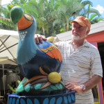 Mike with a carving of the dodo in Mauritius in December 2010.