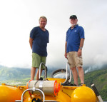 Jürgen Schauer and Mike about to embark on a dive to observe live coelacanths in the 'Jago' research submersible off the south coast of Grande Comoro in November 2008. Photo: Karen Hissmann.