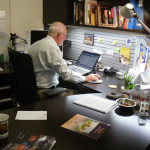 Mike at work in his office in Thuwal during the development of the 'Museum of Science & Technology in Islam' at the King Abdullah University of Science & Technology in Islam in Saudi Arabia, while in the employment of MTE Studios.