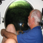Mike in the 'Jago' research submersible observing live coelacanths at a depth of 198 m off the south coast of Grande Comoro in November 2008. Photo: Jürgen Schauer.