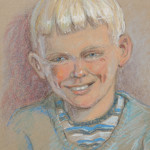 Pastel portrait of Mike at the age of 10 years by his father, Noel Bruton.