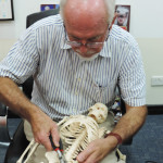 Mike fixing a skeleton at the Bahrain Science Centre in 2013 during his employment with MTE Studios.